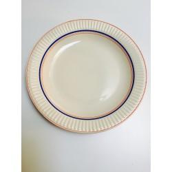 Assiette vintage liserai bleu & rouge