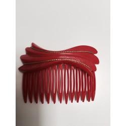 Peigne à cheveux résine vintage rouge