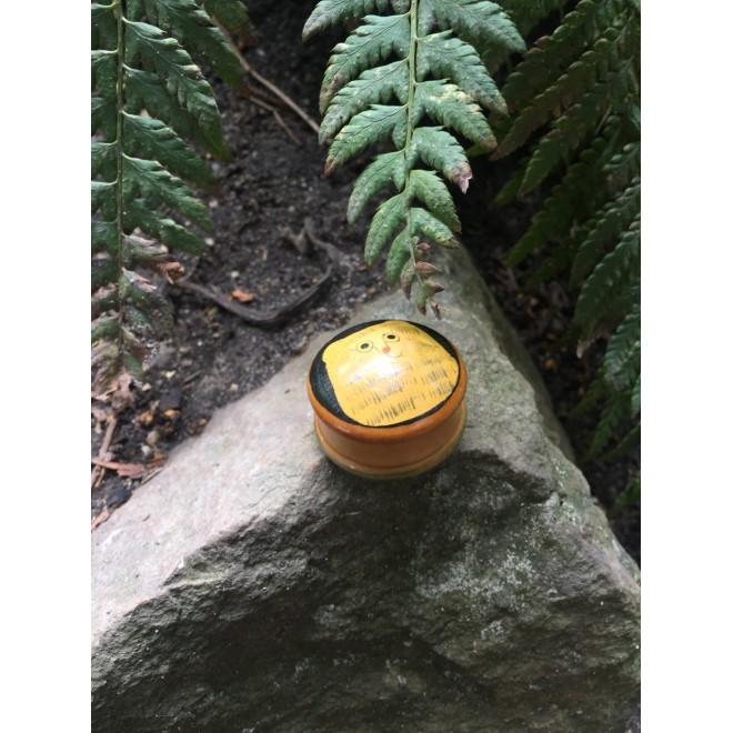 Mini boite ronde bois motif chat
