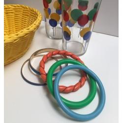 Lot de 5 bracelets jonc colorés vintage