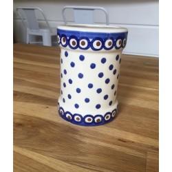 Pot en céramique motifs pois bleus