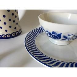 Bol céramique vintage motifs floraux bleus