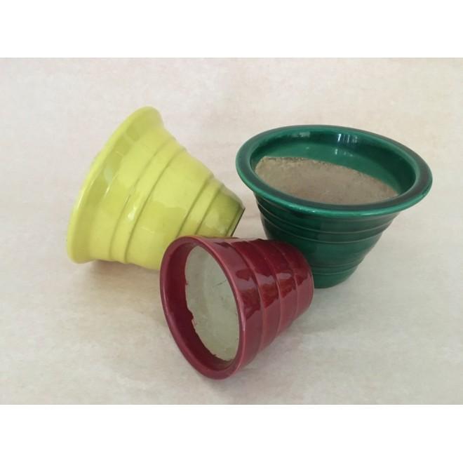 lot de 3 cache pots céramique multico vintage