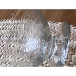 coupe verre à pied gravée vintage