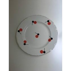 Lot de 7 assiettes à dessert motifs rouge&noir
