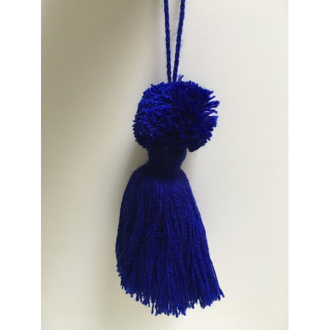 Pompon bleu marine pampille