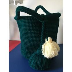 Grand panier en laine vert avec pompon