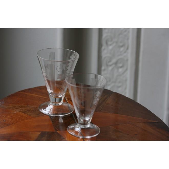 verres à pied Art Deco gravé