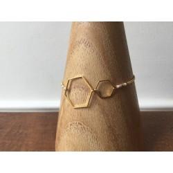 bracelet brass golden with hexagon