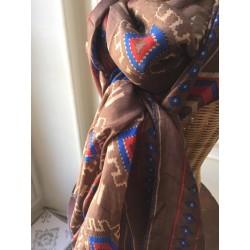 Big brown silk scarf Ikat print