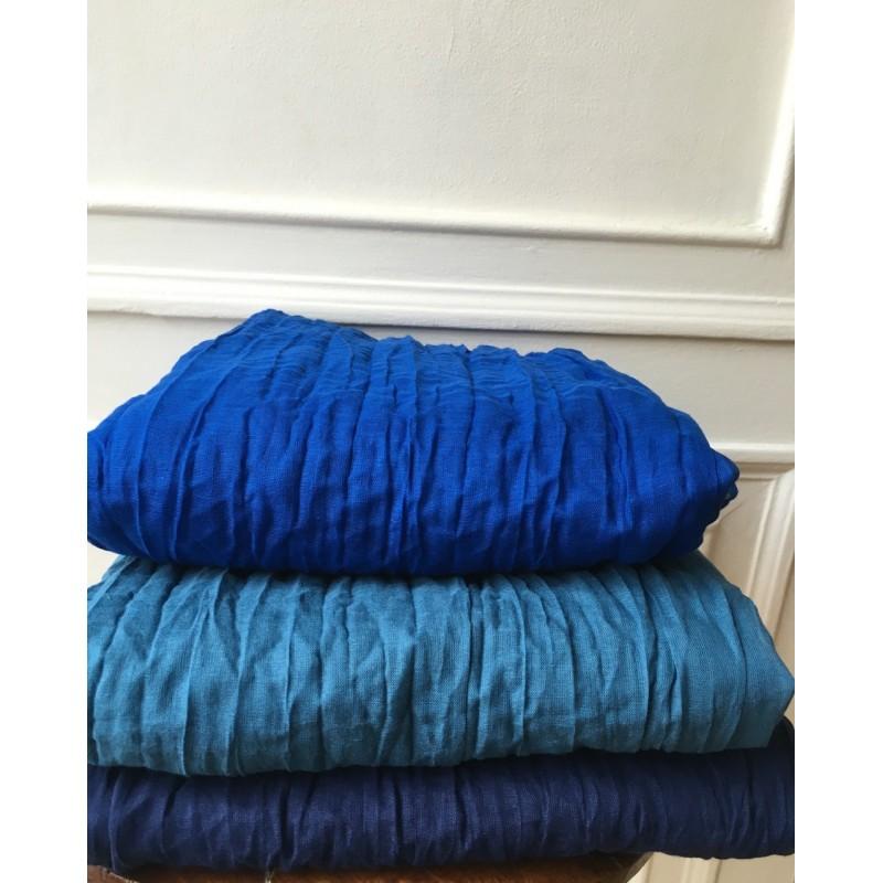 9cb36a6a6c8f Foulard coton bleu pétrole · Foulard coton bleu pétrole