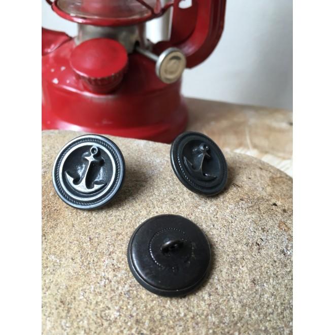 lot de 3 boutons ancre marin métal