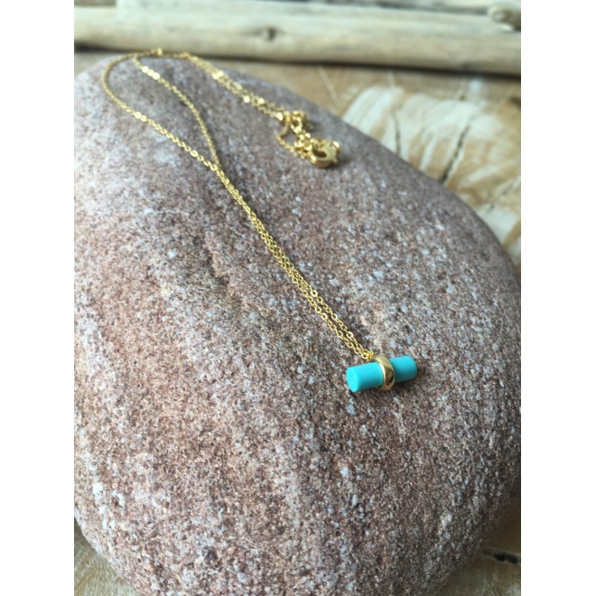 collier CY laiton doré, cylindre turquoise