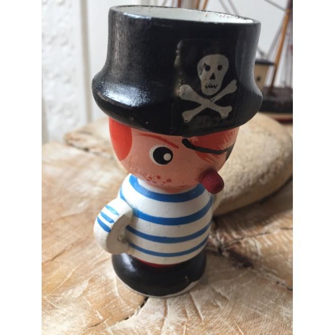 Coquetier vintage pirate en bois
