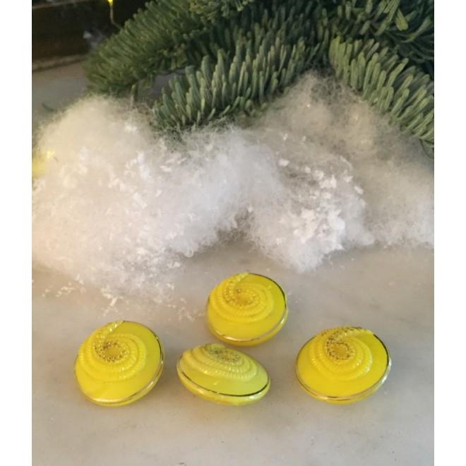 Lot de 4 boutons canaris en verre vintage
