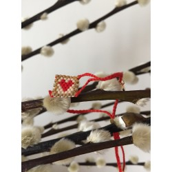adjustable cotton strap link with woven beads heart