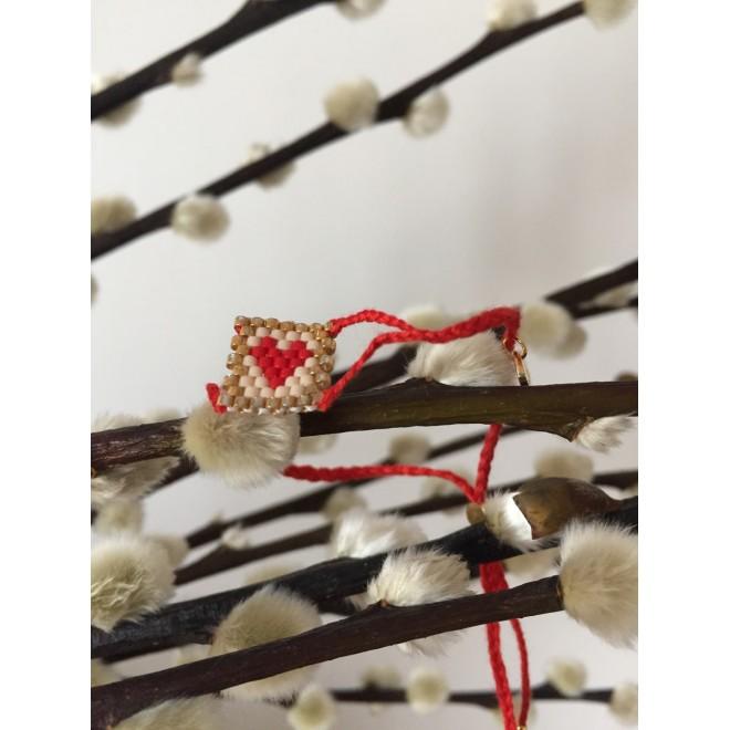 bracelet lien coton et coeur en perles tissées
