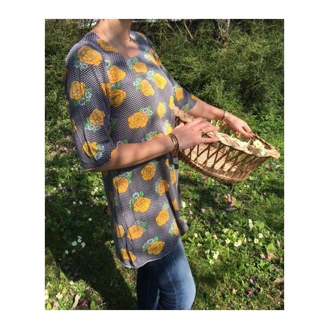 Tunique vintage coton motif fleurs